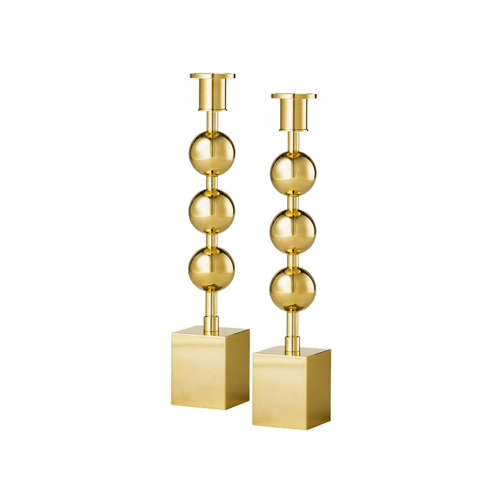 Brass Triple Knob Candlestick - Pair