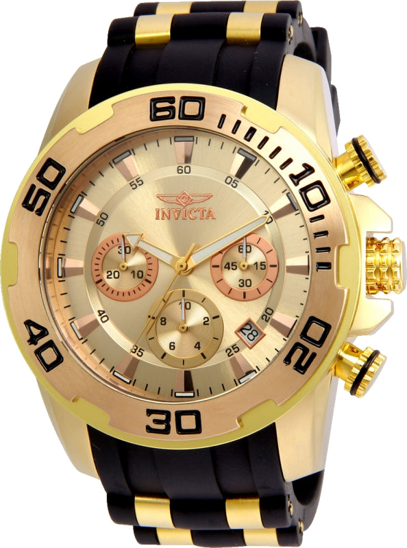 Invicta Men's 22342 Pro Diver Quartz Chronograph Gold Dial Watch
