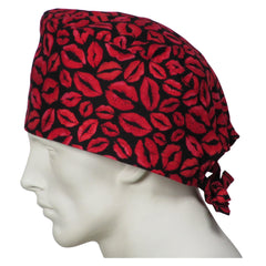Red Lips and Kisses Scrub Caps