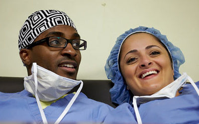 Dr. Watkins and Evelin Badalov, physician assistant - surgicalcaps.com