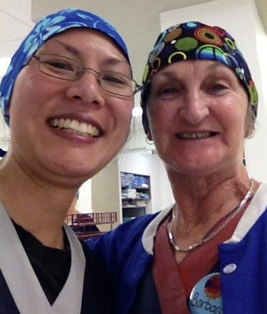 DownUnder - Albany, Australia wearing Royal Lava Flowers surgical caps Peace Signs 2 scrub caps