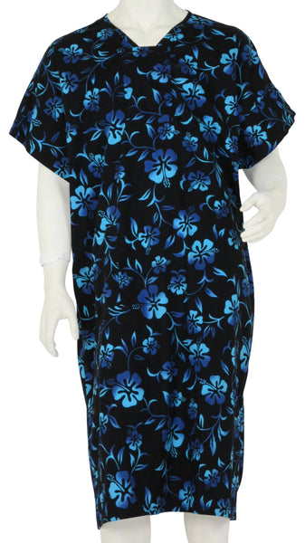 Patient Hospital Gowns Black Lava Flowers