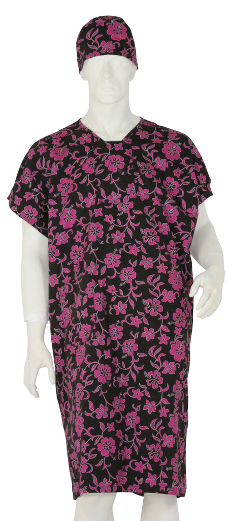 Patient Gowns Pink Lava Flowers