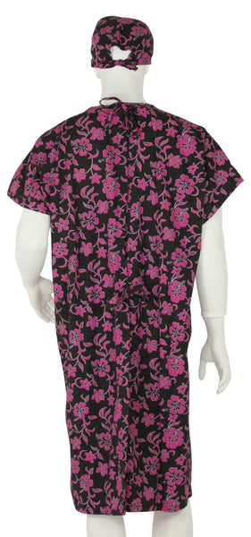 Hospital Gown Pink Lava Flowers