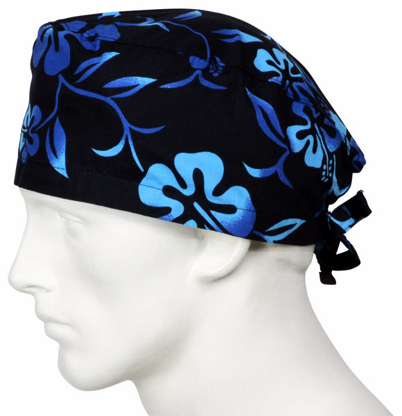 Surgical Cap Lava Flower Black