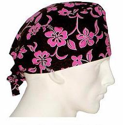 Surgical Scrub Caps Lava Flower Pink