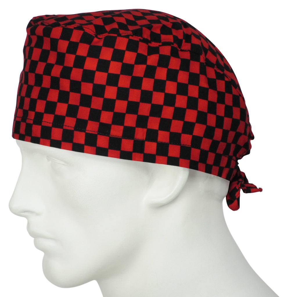 Surgical Cap Red Squares