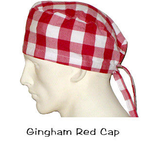 Surgical Scrub Caps Gingham Red