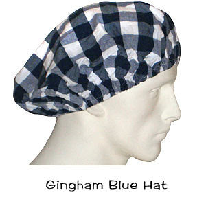 Bouffant Surgical Hats Gingham Blue