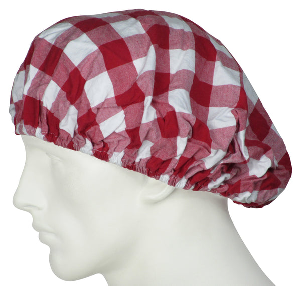 Bouffant Surgical Hats Gingham Red
