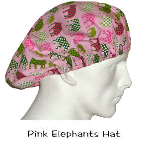 Bouffant Surgical Hats Pink Elephants