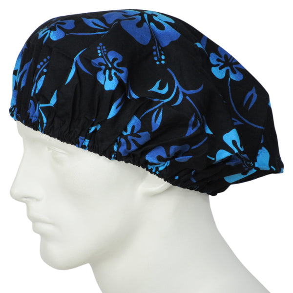 Bouffant Scrub Caps Lava Flowers Black
