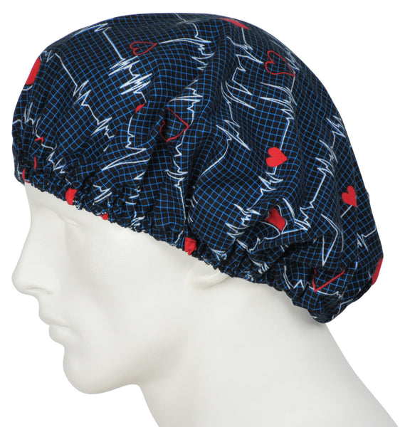 Bouffant Surgeons Cap EKG black
