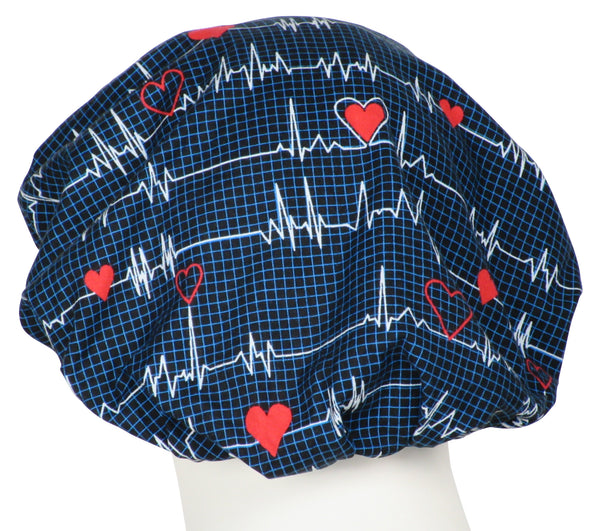 Bouffant Scrub Caps EKG black