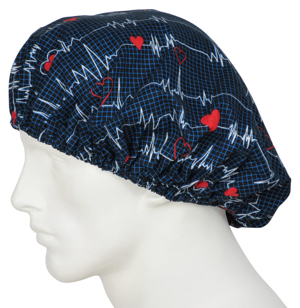 Bouffant Surgical Caps EKG black