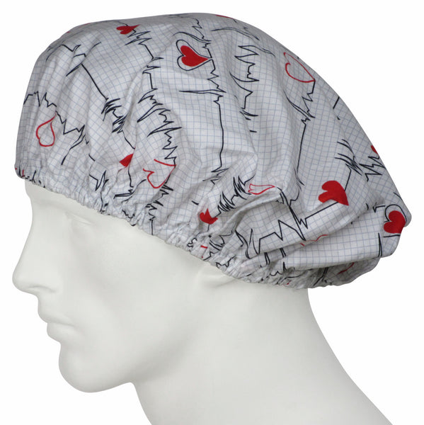 Bouffant Surgical Hats EKG white