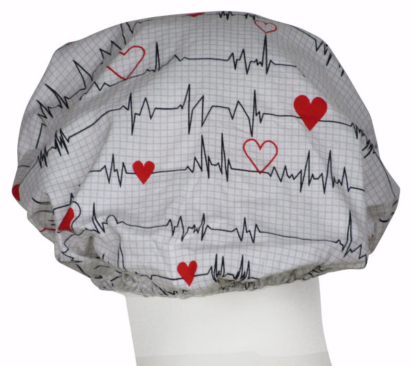 Bouffant Surgical Hat EKG white