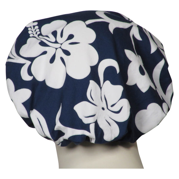 Bouffant Scrubs Navy Lava Flowers Hats