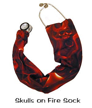 Stethoscope Cover Sock Skulls On Fire
