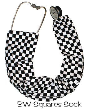 Stethoscope Sock Covers BW Squares