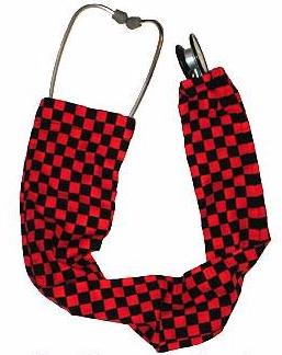 Stethoscope Cover Sock Red Squares