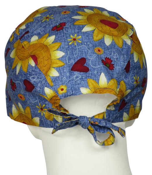 XL Scrub Surgical Hats Sunflower Folk