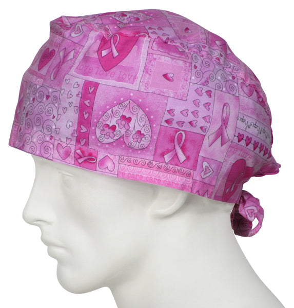 XL Scrub Caps Breast Cancer Ribbons