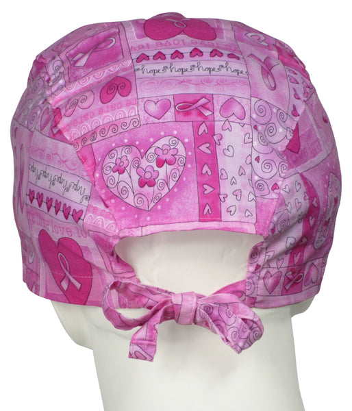 XL Scrub Cap Breast Cancer Ribbons