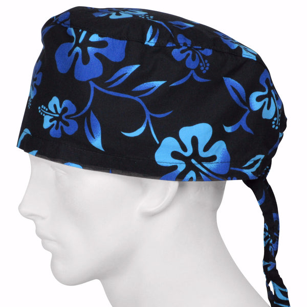 XL Scrub Cap Lava Flower Black