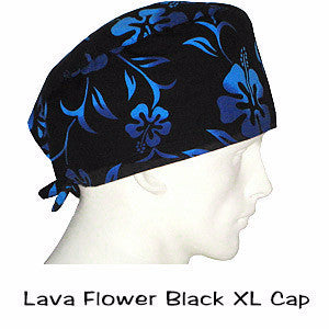 XL Scrub Surgical Cap Lava Flower Black