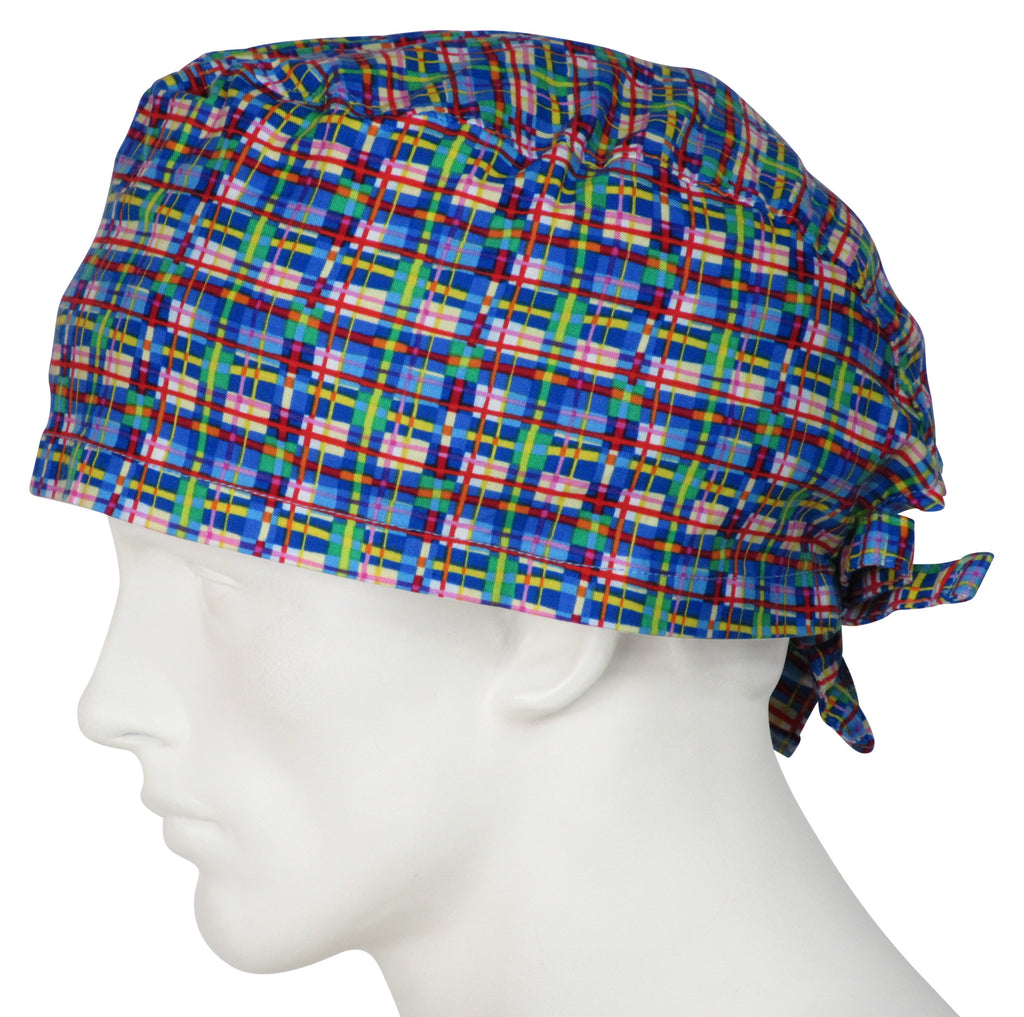 XL Scrub Surgical Caps Birdland Plaid