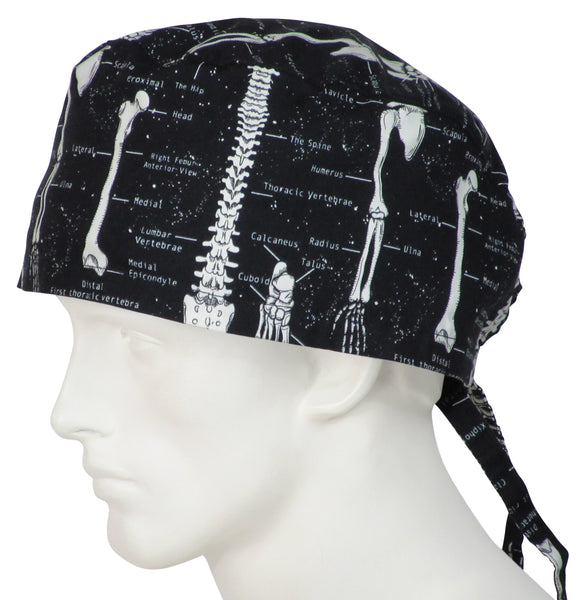 XL Scrub Surgical Caps Skeleton