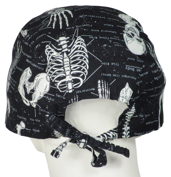 XL Scrub Surgical Hats Skeletons