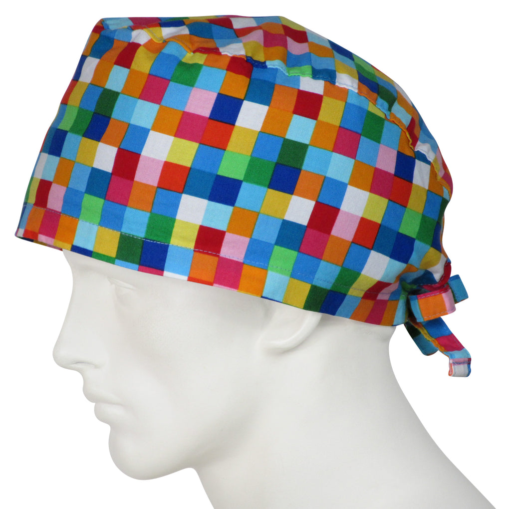 XL Surgical Caps Bright Squares