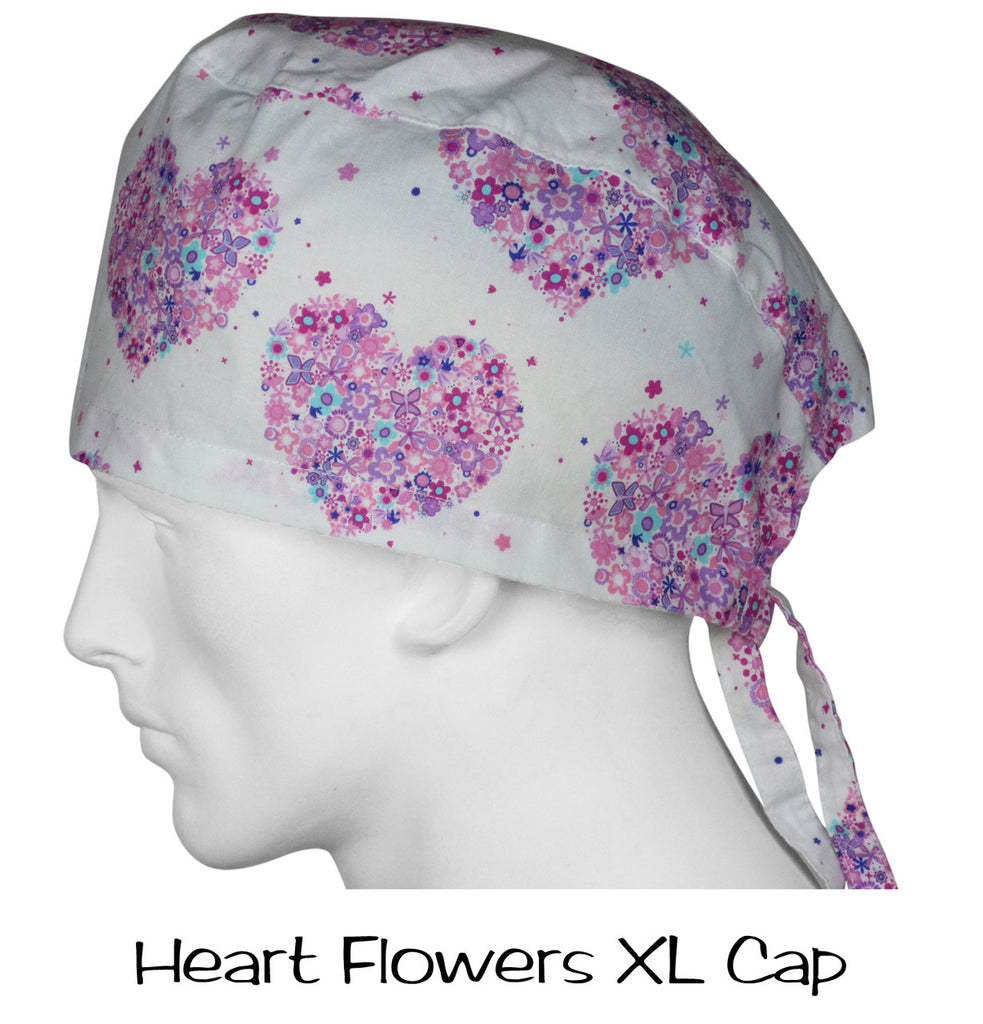 Surgical XLarge Caps Heart Flowers