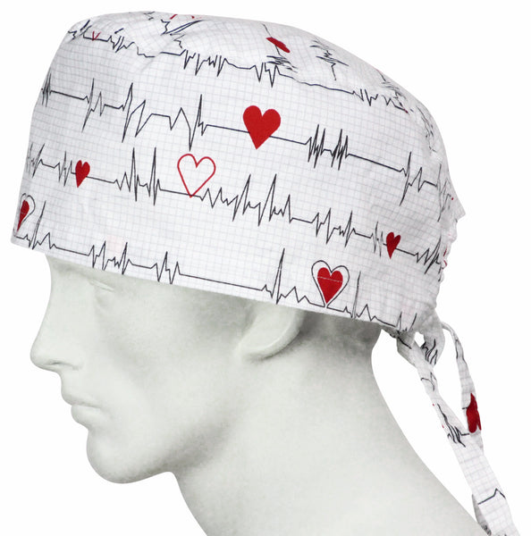 XL Scrub Hats EKG white