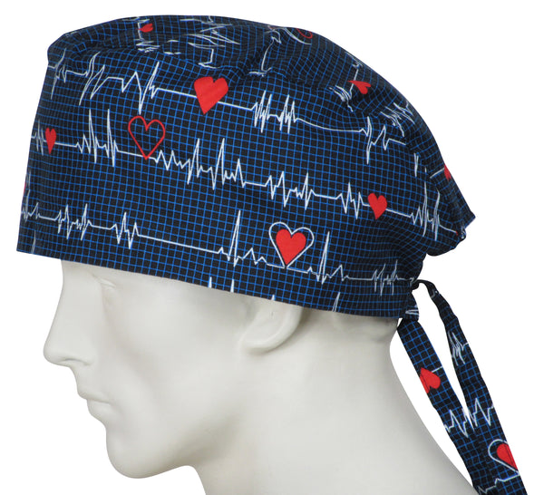 XL Scrub Caps EKG black