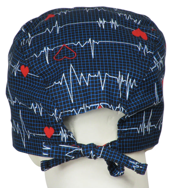 XL Scrub Hats EKG black