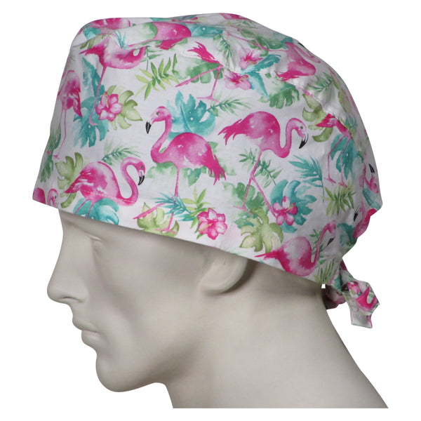 XL Scrub Hats Pink Flamingos