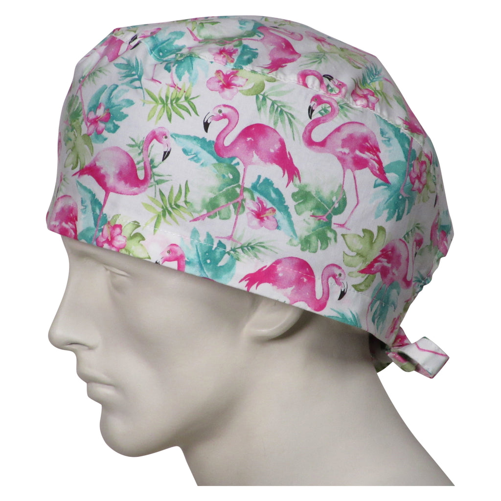XL Scrub Caps Pink Flamingos