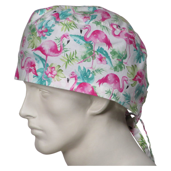 XL Surgical Hats Pink Flamingos
