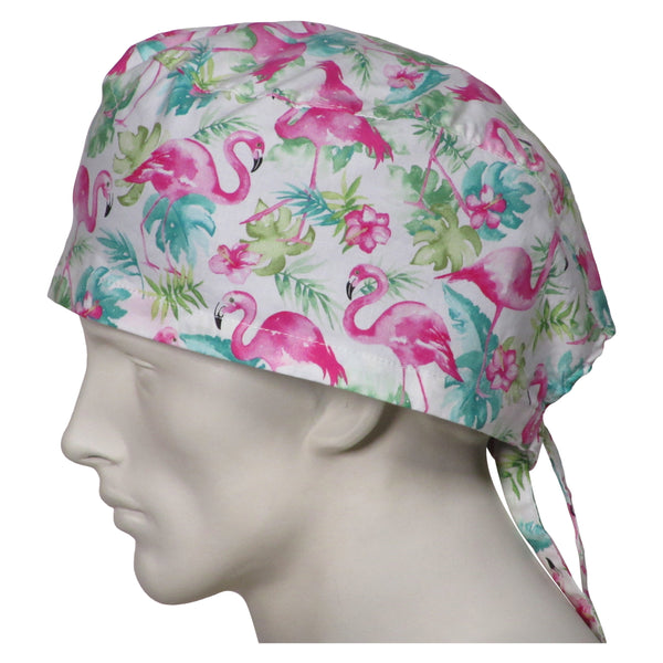 XL Surgical Caps Pink Flamingos