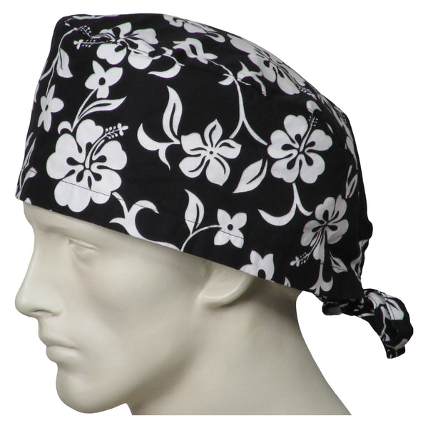 XL Scrub Cap Black Flowers
