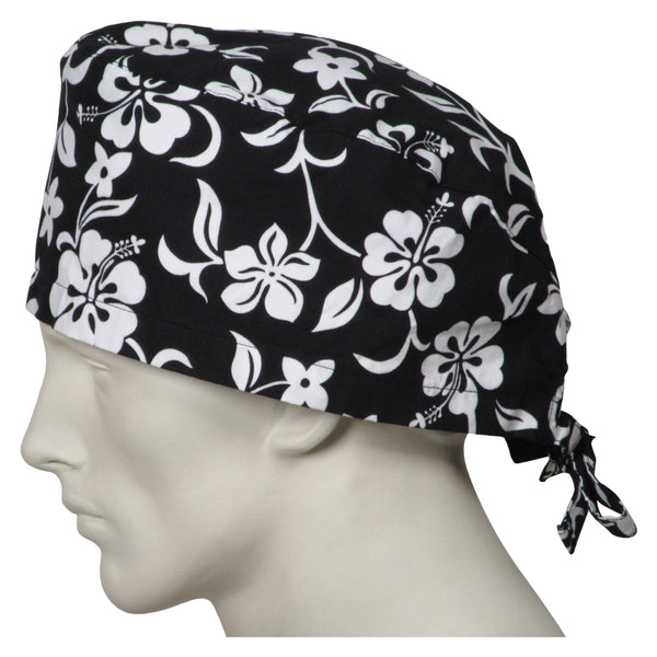 XL Scrub Surgical Caps Black Flowers