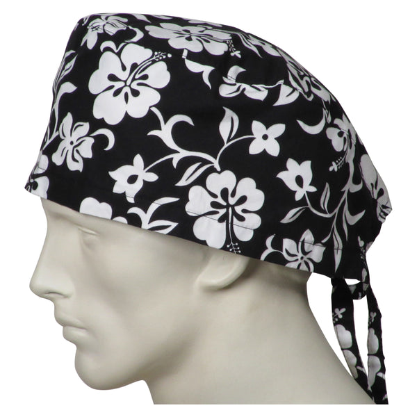 XL Surgery Hats Black Flowers