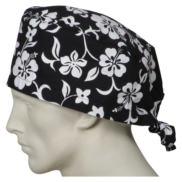 XL Scrub Caps Black Flowers
