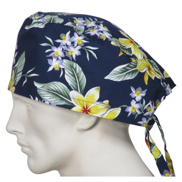 XL Scrub Hats Island Flowers