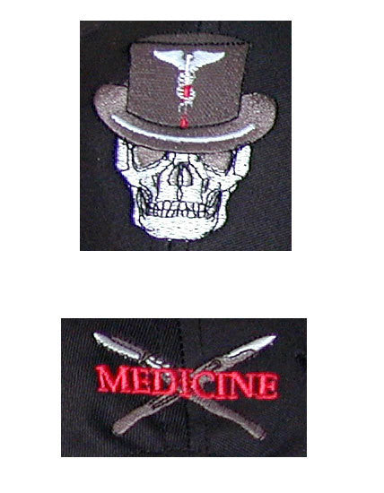 Close-up Medicine Skull Baseball Cap (Front, Back)