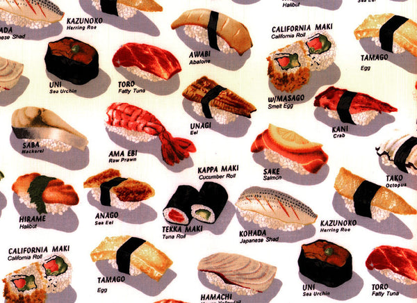 Close-Up Bouffant Scrub Hats Sushi