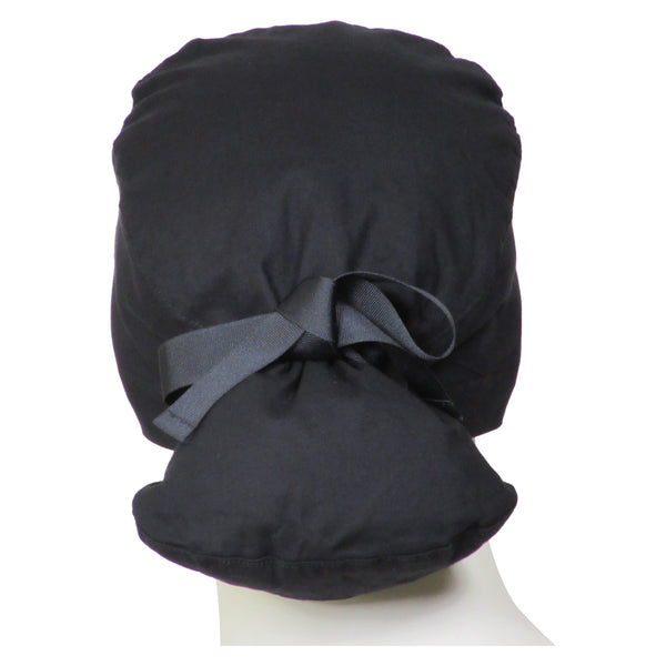 Ponytail Scrub Caps Midnight Black